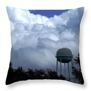 Clouds Around The Water Tower Throw Pillow