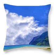Clouds At Polihale Throw Pillow