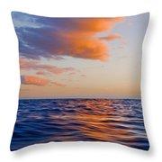 Clouds At Sunset - Racing Across The Water At Sunset Throw Pillow