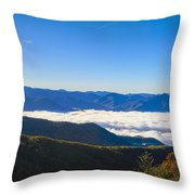 Clouds Below Watterock Knob At Sunrise Throw Pillow