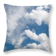 White Cirrus And Cumulus Clouds Formation Mix Throw Pillow