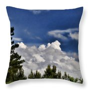 Clouds Like Mountains Behind The Pines Throw Pillow