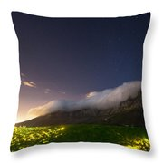 Clouds Loom Over Table Mountain In Cape Throw Pillow