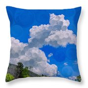 Clouds Loving A Friendly Mountain Landscape Painting Throw Pillow