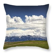 Clouds Over A Mountain Range In Montana Throw Pillow