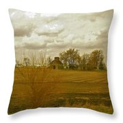 Clouds Over An Illinois Farm Throw Pillow
