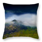 Clouds Over Bull Crag And Maiden Moor Throw Pillow