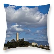 Clouds Over Coit Tower Throw Pillow