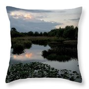 Clouds Over Green Cay Wetlands Throw Pillow by Mark Newman