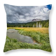 Clouds Over Hat Lake Throw Pillow