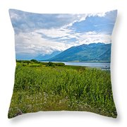 Clouds Over Jackson Lake In Grand Teton National Park-wyoming Throw Pillow