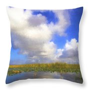 Clouds Over The Grasses Throw Pillow