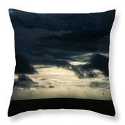 Clouds Sunlight And Seagulls Throw Pillow by Hakon Soreide