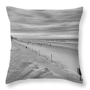 Cloudy Beach Morning Throw Pillow