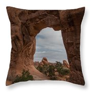 Cloudy Day At Pine Tree Arch Throw Pillow