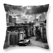 Cloudy Day At St. Louis Cemetery In Black And White Throw Pillow