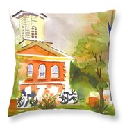 Cloudy Day At The Courthouse Throw Pillow