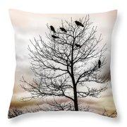 Cloudy Day Blackbirds Throw Pillow