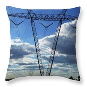 Cloudy Day Electric Grid Throw Pillow