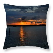 Cloudy Harbor Sunset  Throw Pillow