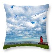 Cloudy Milwaukee Harbor Throw Pillow