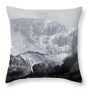 Cloudy Misty Pikes Peak Throw Pillow