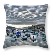 Cloudy Morning - Lyme Regis Harbour Throw Pillow