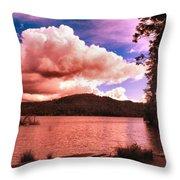 Cloudy Skies Over Scotts Flat Lake Throw Pillow