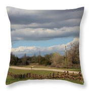 Cloudy Sky With A Log Fence Throw Pillow
