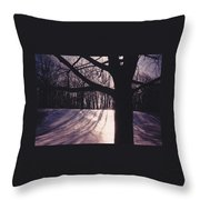 Clove Lakes Park In Winter Throw Pillow