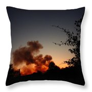 Clover Fire At Night Throw Pillow