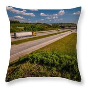 Clover Leaf Exit Ramps On Highway Near City Throw Pillow