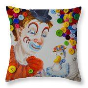Clown And Duck With Buttons Throw Pillow
