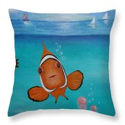Clown Fish And Friends Throw Pillow