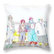 Clown Lineup Throw Pillow