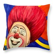 Watercolor Clown #17 Mark Carfora Throw Pillow