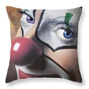Clown Mural Throw Pillow