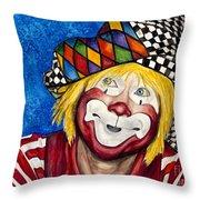 Watercolor Clown #16 Ron Maslanka Throw Pillow