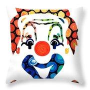 Clownin Around - Funny Circus Clown Art Throw Pillow by Sharon Cummings