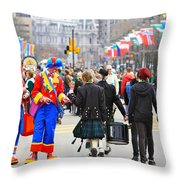 Clowns And Tartans Throw Pillow