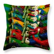 Clowns In Cars Amusement Park Game Throw Pillow by Amy Cicconi