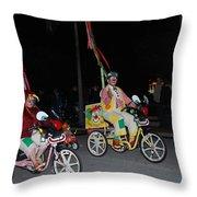 Clowns On Bikes Throw Pillow