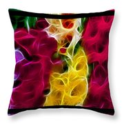 Cluster Of Gladiolas Triptych  Throw Pillow