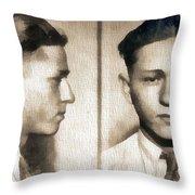 Clyde Barrow Mug Shot Throw Pillow