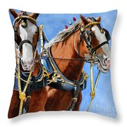Clydesdale Duo Throw Pillow