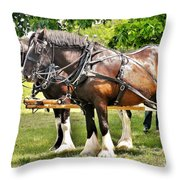 Clydesdale Horses Throw Pillow