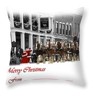 Clydesdale  Team Christmas Card Throw Pillow