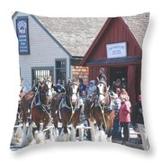 Clydesdales In Mystic Throw Pillow