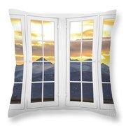 Co Mountain Gold View Out An Old White Double 16 Pane White Window Throw Pillow