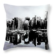 Vancouver  Canada Coal Harbour Triptych Left Panel Throw Pillow
